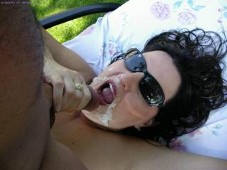 Wot's good about this pic is that she has apparently willingly wanked his cum all over her face!!   HOT HOT HOT1
