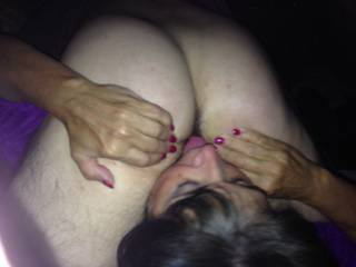 look at my slut GF with her tongue buried in another mans asshole...so hot !! sometimes I have to pry her tongue from their furry man hole by dick slapping her face