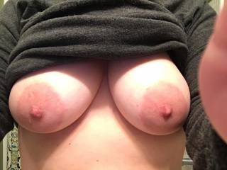A shot of the wife's sexy tits that I received while @ work this afternoon