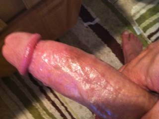 oiled up cock.  Slow stroke