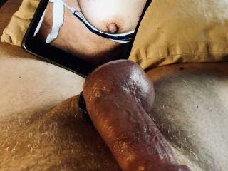 My cock is lubed up and swollen to bursting, I'm going to relieve the pressure as I fantasize sucking Onehornycouple's nipples.