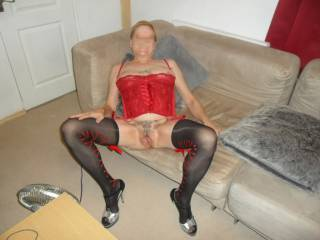 Hi again here i am legs open so you can all have a long look comments welcome mature couple