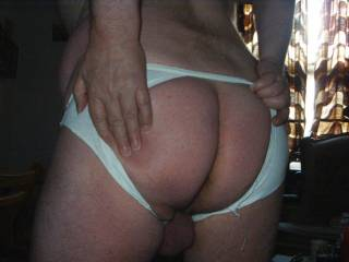 My briefs were so tight my big round ass wouldn\'t fit into them and ended up slitting - and they were clean on this morning, too!!!