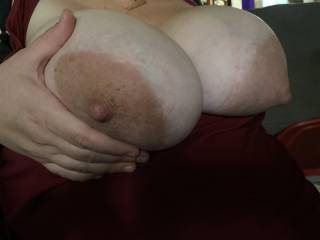 The wife's big pregnant tits!