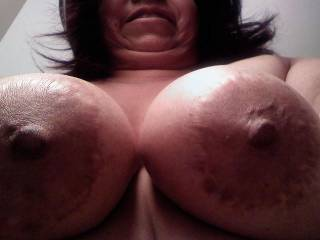 What my titties look like when they're hanging above my hubby.