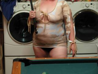 playing pool trying to hustle hubby, or atleast distract him