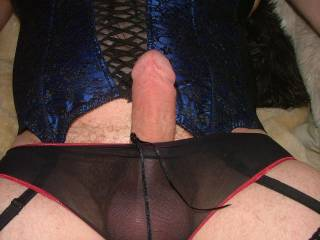 your cock looks lovely in those panties - would love to release it and suck it off