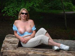 outdoor pic , with coloured blonde hair