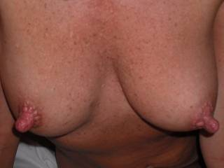 I love boobs, and yours are beautiful, your nipples are outstanding, may I cummmm and play with them ???, after all you are getting me hard.