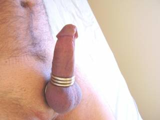 Great shave that really exposes your hard cock.  Like the rings.  Wouldn't mind sucking your hard cock.