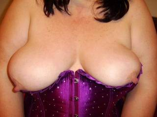 Hard nipples let loose from the basque