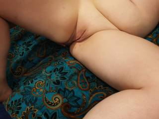 Legs spread and waiting for me to eat that pussy!