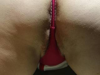 Thought I'd tease you just enough material to cover my pussy and arsehole!!