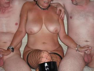 Chrissy loved wanking the two cocks and I loved taking the pics xxx