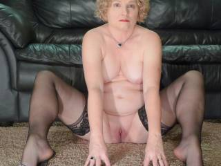 chubby wife naked in stockings and heels showing her pussy, tits, and ass