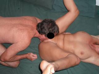 Our swinger friend tongues me deep at the last party.