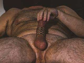 Trying out my new 5 ring cock cage, makes for a tight fit and a rock hard cock, hope you like it.