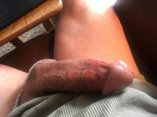 Slick with pre-cum and all edged out, throbbing and trying not to shoot my load.
