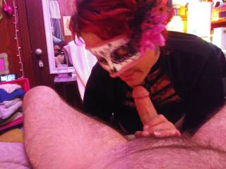Wife sucking me off wearing a mask
