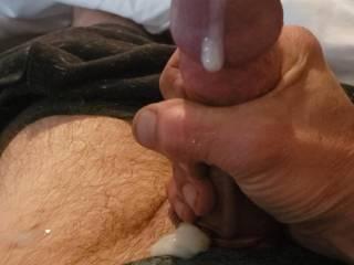 All the cum sliding down my big cock.