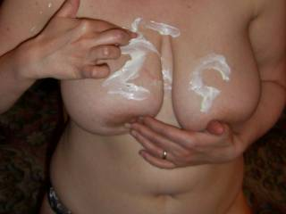 hmmm do you want to lick the cream off my tits?