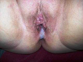 Creampie I left in Lupo's wife for her to take home to her cuckold hubby.  They both love it when I fill her pussy with my load