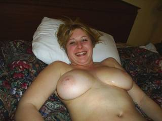 i would love to see that smile as i work my cock in and out of your hot pussy as my mouth and hands work them awesome tits