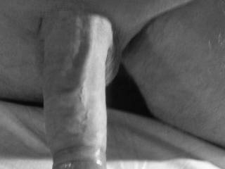 Nice b&w cock pic indeed. Love the bunched up foreskin and such a nice long plump cock.
