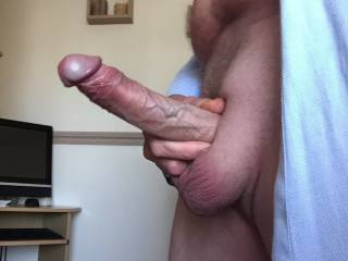 Really horny!!  Fantastic cock for suck, mmm... I would love to suck and lick your big balls.