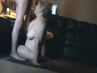 Chubby wife suck my cock then wants to be fucked. Watch the ending....