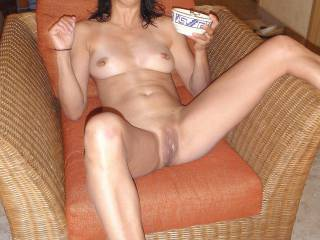 Surpised at being caught with my fingers in my pussy, I offer a tasty breakfast treat to my guy~! ...would you take me up on it?? ;-)~