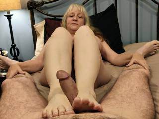 Mrs. Shutterbug58 loves a hard, thick cock between her feet. She loves to stroke it to get her just reward all over her toes. Watch her video to see how she gets her sticky reward in her footjob video.