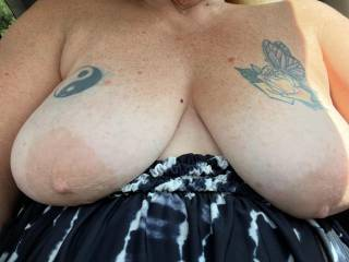 Pet running around doing errands, Loves showing those big tits off when out and about. Should we send her clamped and banded next time? wanna reach in that window and squeeze those big heavy tits tits? did you catch a glimpse of her riding around