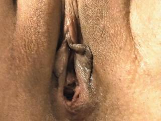 Spreading her pussy before I fuck it