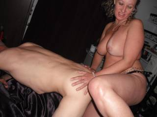 Carla loves fucking Terry in his ass with the strapon xxx