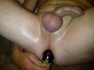 Really hot watching you play with an eggplant in your ass. Love those smooth balls.