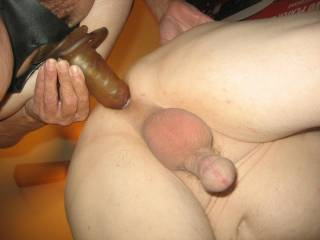 fucking my hubby's ass with my toy....going deeper, he said it feels oh so good