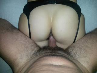 Black hairy pussy and sexy black stockings from behind ... would you even fuck her?