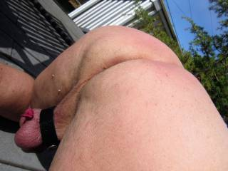 out on the deck showing myself.....  for those who like butts.