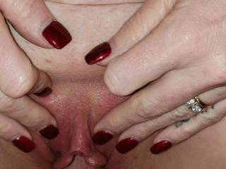 Filling her pussy with my cock as I cum and give her a creampie.