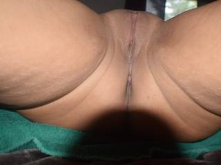 Shaved pussy close up.