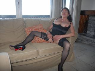 Sexy mature busty is spreading for my cock.
