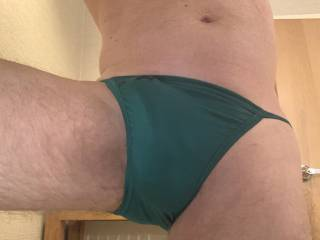 Trying out my new bikini briefs. They are making me hard.