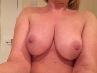 Wow!  I love your amazing tits...perfect size, shape, big aerolas (my favorite!) and deliciously hard nipples just begging to be licked, sucked and nibbled on!!