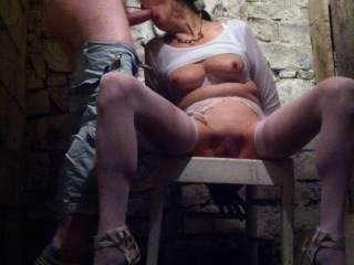 In the cellar - This was just a quick test of lighting really, she wasn\'t even tied up...  I will get round to a proper dungeon one day :-)