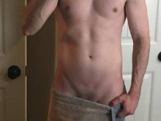 Just out of the shower after a workout.