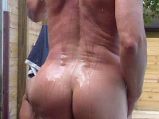 Love to wash your tanned butt and balls then round to your cock!