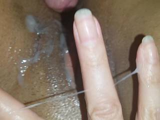 every day, every time when I cum inside her or on her face I shoot some hot pics, it is incredible  to see lot's of sperm on her body, this time I load my sperm on her pussy and fingers.