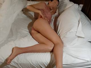 Posing before a long fuck session while watching FFM threesome porn