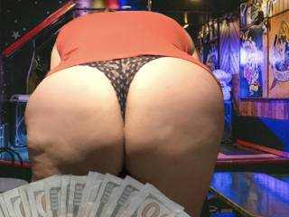 I had a woman give me $1,000 I added to my lovers pile.. all she wanted was for me to take my pants off in the bar, and sit in front of her.... I love the way she eyed my wet snatch when I faced her! Can only imagine what her eyes looked like from behind